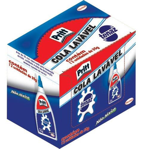 Cola Branca Tenaz Pritt Lavável Caixa 12 Unidades 35g Original