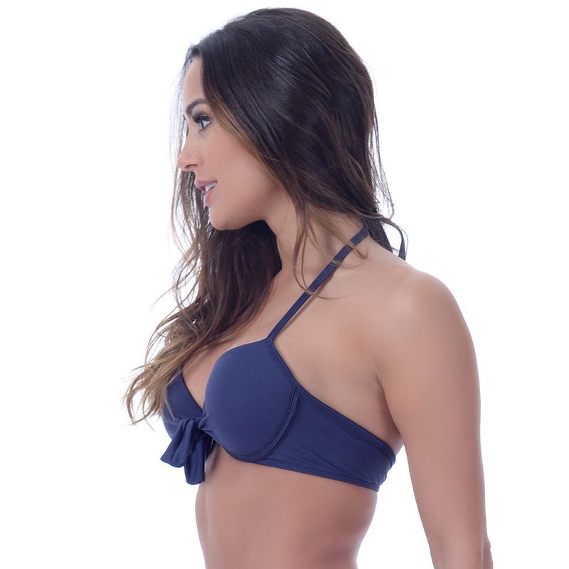 Top Summer Soul Meia Taça Com Bojo e Amarração Azul Marinho