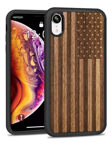 Case Protetor P/ iPhone XR - Estados Unidos Madeira - Jubeco Original