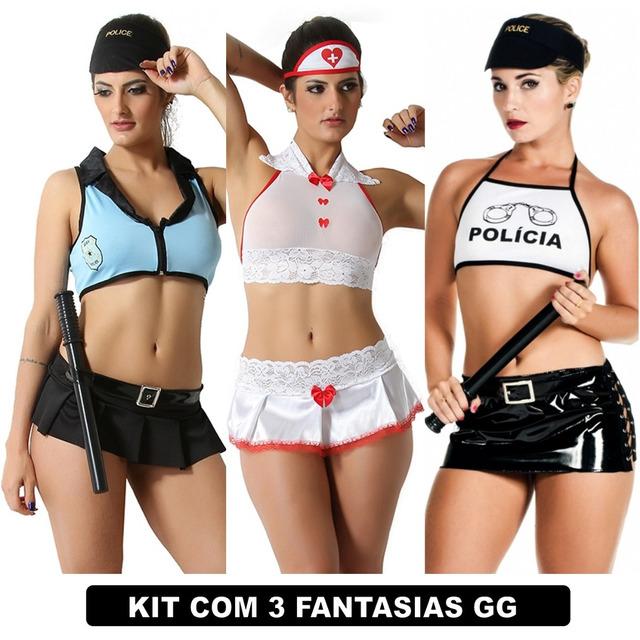 488334cb0 Plus Size Lingerie Fantasia Moda Feminina Kit Com 3 Uni Gg em ...