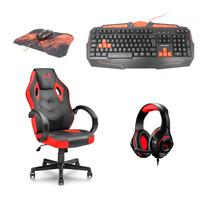 Kit Gamer com Cadeira + Teclado USB + Combo Mouse Gamer e Mouse Pad + Fone de Ouvido Com LED Multila