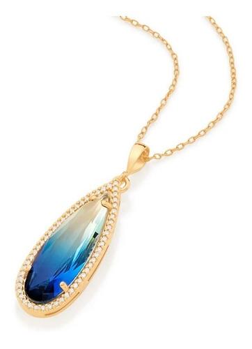 Colar Rommanel 45 Cm Banhado Ouro Pingente Gota Azul Bicolor Original