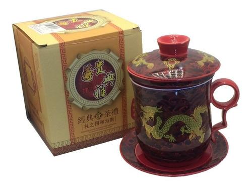 Caneca Infusor De Chá Dragão Oriental Cerâmica Pires Tampa 1 Original
