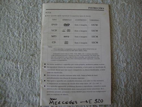 Manual De Instruções Modulo Som Mercedes E-320. Original