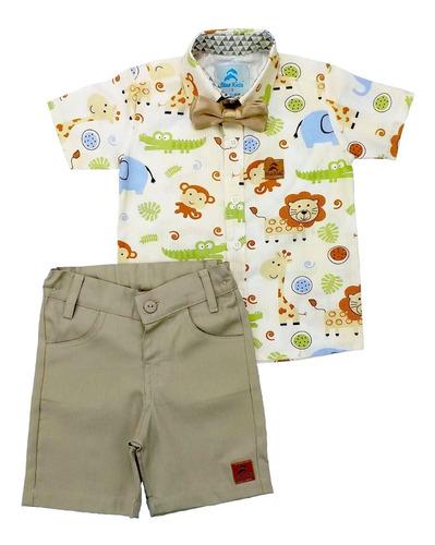 Conjunto Roupa Social Infantil Menino Safari Bege
