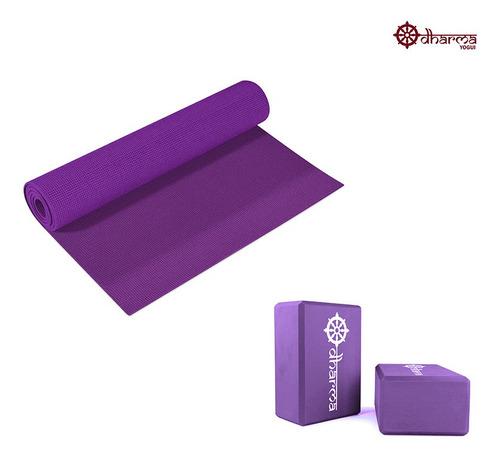 Yoga Mat Premium Roxo Com 2 Blocos De Yoga Para Apoio Roxo