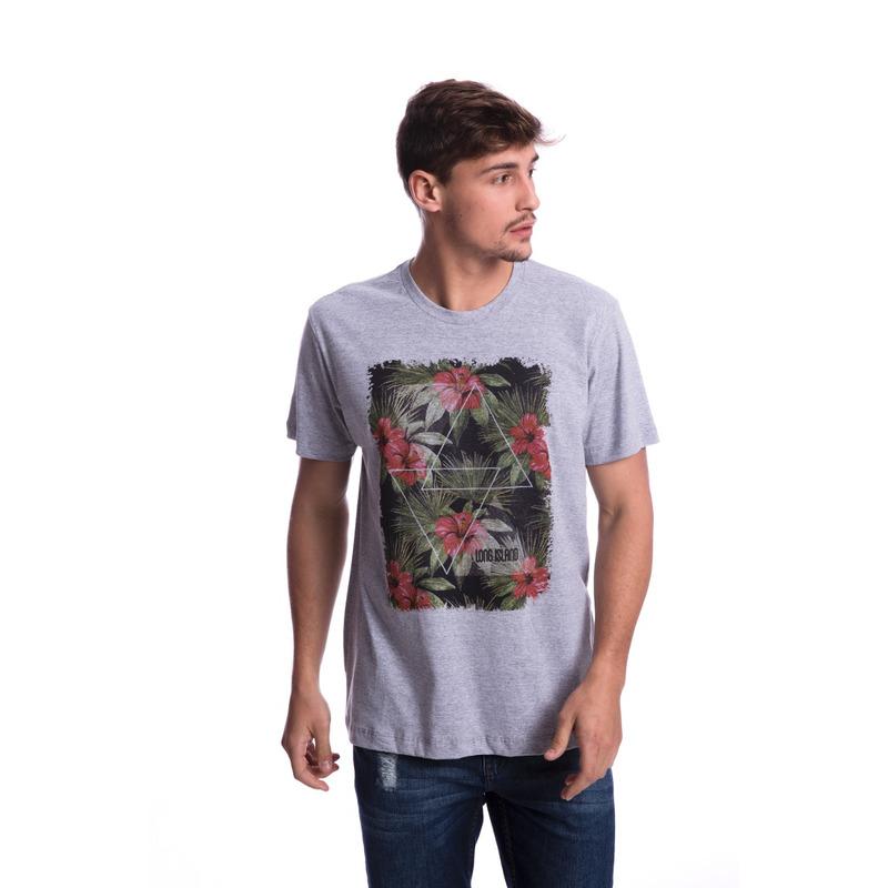 Camiseta Long Island Floral Cinza