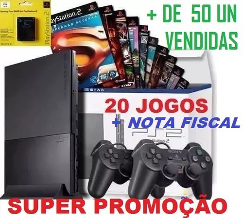 Ps2 Games Console Playstation 2+20 Jogos+memory+2 Controles Original