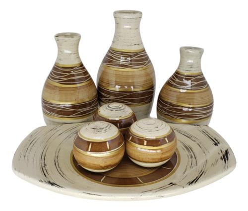 Kit Vasos De Cerâmica Mais Enfeite Centro De Mesa Sublime