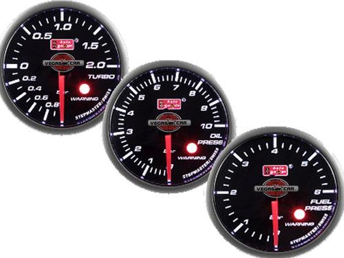 Kit 3 Relogios Auto Gauge 52mm Smoke 270 Stepper Motor Pressão Turbo, Pressão Óleo E Pressão Combustível Original