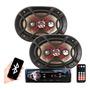 Kit Mp3 Player Bluetooth Usb Sd Par Auto Falante 6x9 Bravox