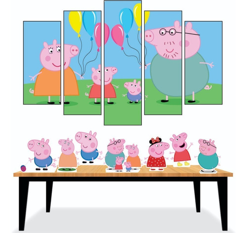 Kit Festa 7 Displays Peppa Pig De Mesa + 5 Quadrinhos Original