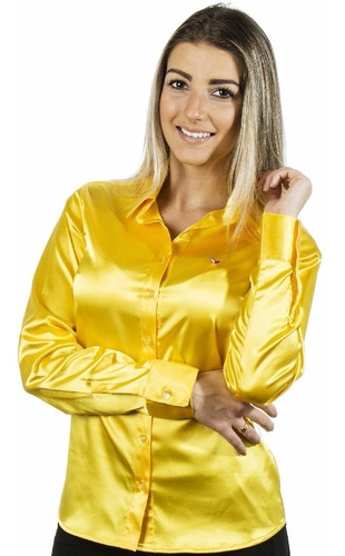 Camisa Feminina Nanette - Cetim C/ Elastano - Pimenta Rosada Original