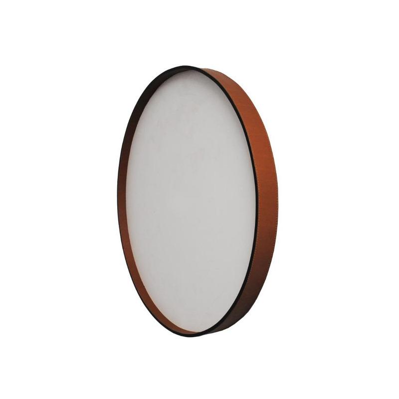 Espelho Papeete Oruy com Moldura em Couro Legítimo 60cm