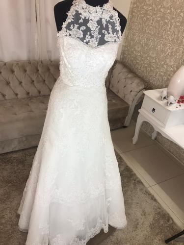 Vestido Noiva  Usado Apenas 1 Vez,evase Gola Alta Frente Úni Original