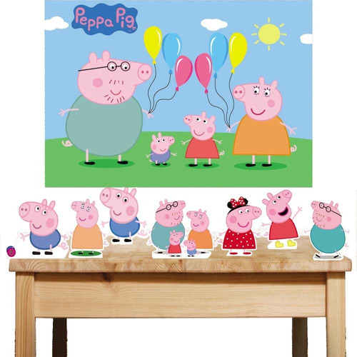 Kit Painel Poli Banner + Displays Festa Infantil Peppa Pig Original