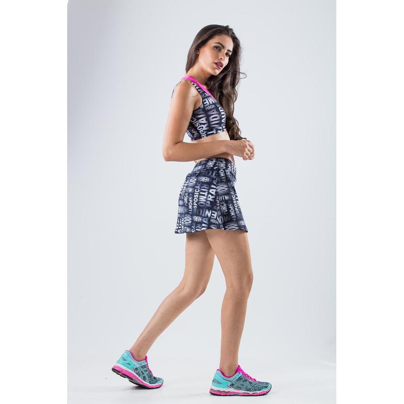 Saia Shorts Basic Light Palavras Cinza