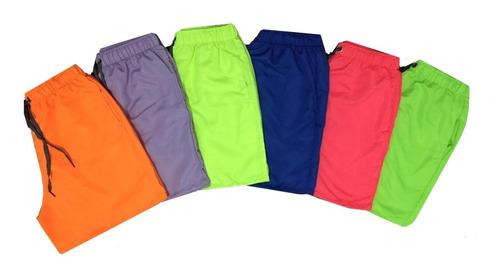 Kit Com 4 Bermudas Shorts Neon  Praia Promoção Original