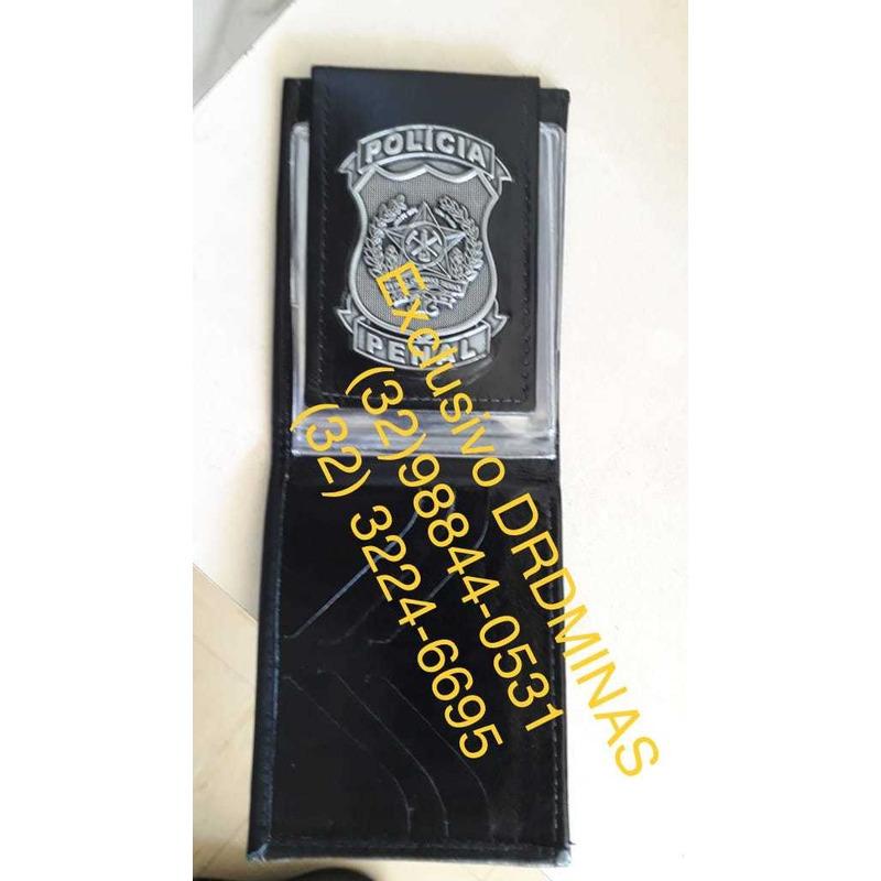 Carteira Couro Preta Policia PENAL - BLACK