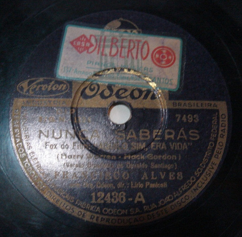 Disco 78 Rpm - Francisco Alves - Odeon 12.436 Original