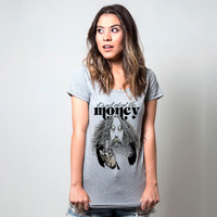 CAMISETA CINZA - IT'S NOT ABOUT THE MONEY