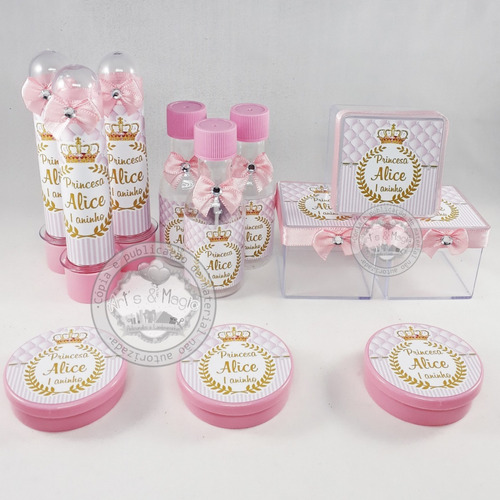 Kit Infantil Personalizado Princesa Realeza Coroa Rosa
