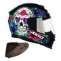 Capacete Axxis By Mt Skull Caveira Azul Viseira Extra