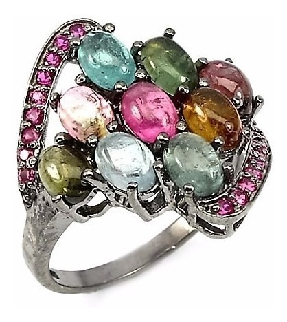 Turmalinas Naturais Coloridas-anel De Prata925 E Ródio Negro Original