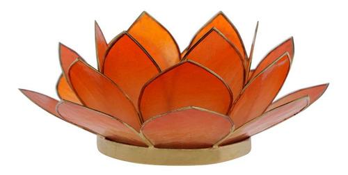 Suporte Flor Lotus P/ Vela Madrepérola Laranja 7x15x15cm Original