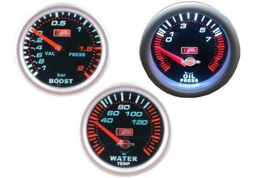 Kit 3 Relogi Auto Gauge, Temp. Agua, P Turbo, P Oleo Smoke Original