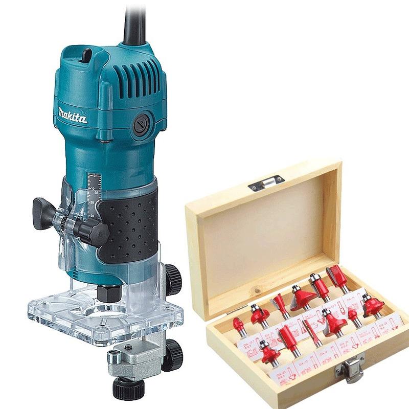 "Kit Combo Tupia 6mm 1/4"" 530 Watts 3709 Makita + Kit de 12 Fresas para Madeira Haste de 1/4"" CQT012 - 110 Volts"