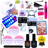 Kit Unhas Mini Lixa Cabine SUN 5 Led UV Bivolt Presilha Dappen Gel D&Z