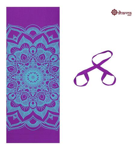 Tapete Yoga Premium Roxo Estampa Mandala + Alça De Brinde