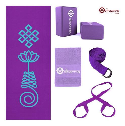 Kit Yoga Roxo Premium Unalome+alça+cinto+2 Blocos+toalhinha