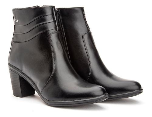 Bota Feminina Ankle Boots Coturninho Cano Curto Mod 2803 Top Original
