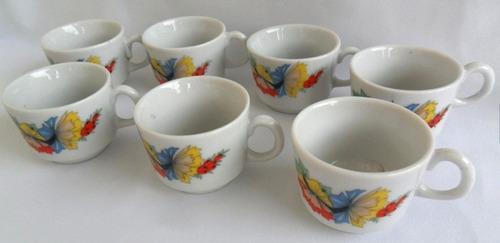 Xícaras De Café Sem Pires Antiga Porcelana Floral 7 Unidades Original