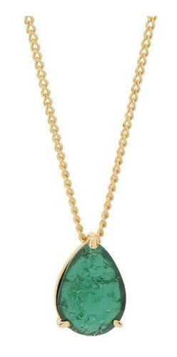 Colar Banhado Ouro 18k Pingente Pedra Gota Delicado 531999 Original