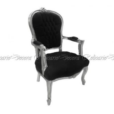 Cadeira de Braço Poltrona Capitonê c/ Folha de Prata Luiz XV Entalhes Unicos Impecavel