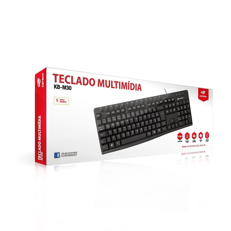 TECLADO MULTIMIDIA USB C3TECH KB-M30BK PRETO