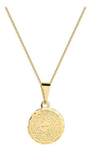 Colar Corrente Pingente Mini Medalha Pai Nosso Folheado Ouro Original