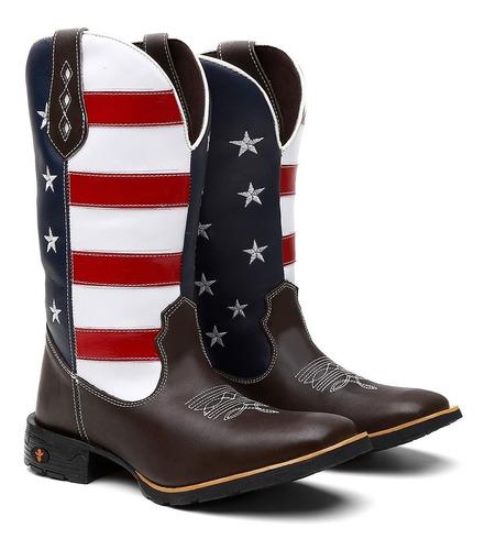 Bota Texana Masculina Estados Unidos Country Couro +carteira Original