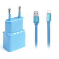 Kit Fonte Carregador de Parede 2 Saídas USB 2.4A e Cabo USB Tipo C 1 Metro Multilaser Azul