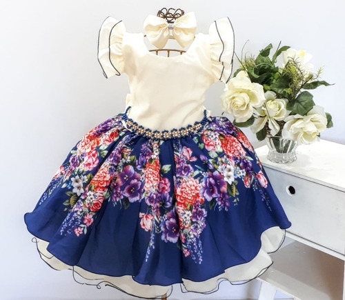 Vestido Festa Infantil Floral Luxo 1 A 16 Ano Preço De Custo Original