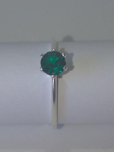 Anel Solitário Com Strass Verde Pequeno - Prata 925 Original