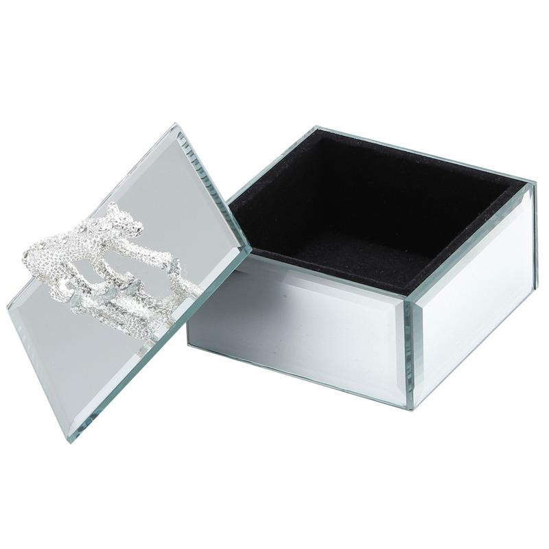 Porta Joias de Madeira Espelhado Animals 8,5X8,5X8Cm-Prestige 31025335