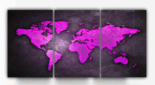 Quadro Decorativo 3 Peças Mapa Mundo Diversas Cores Colorido Original