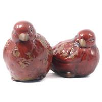 Pássaros em cerâmica para decoração - Vermelho Brilhante