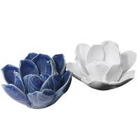 Flores em cerâmica para decoração - Azul e Branca