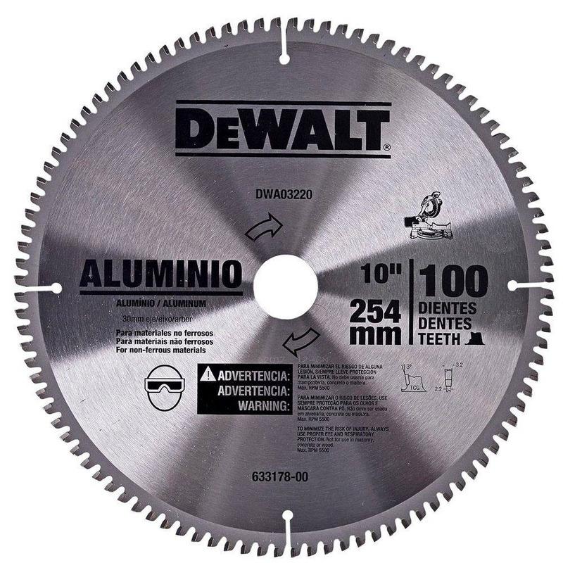 "Lâmina de Widea Dewalt 10"" 100D para Alumínio"