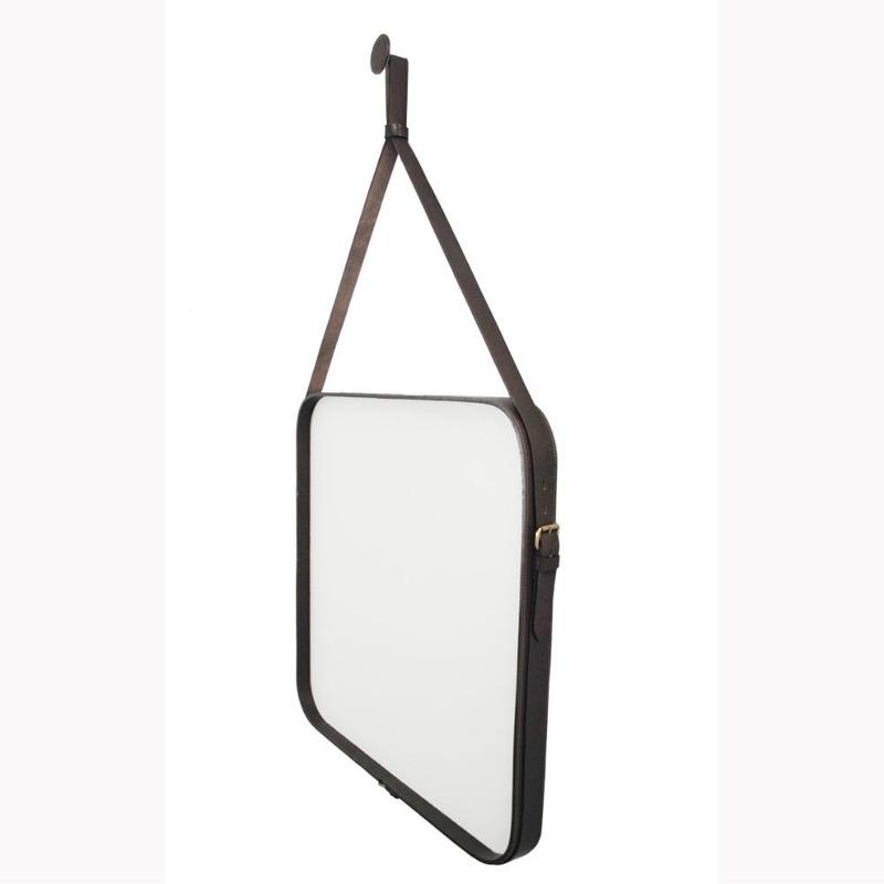 Espelho Adnet Manly em Couro Legítimo 60cm